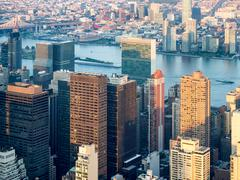 Aerial view of New York City including the UN headquarters Stock Photos