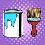 paint brush work painting design - stock illustration