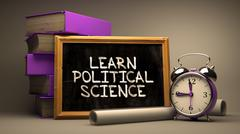 Learn Political Science. Inspirational Quote on Chalkboard Stock Illustration