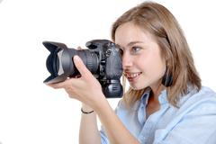 young woman with a camera. youth lifestyle - stock photo