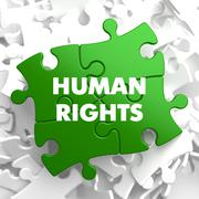 Human Rights on Green Puzzle - stock illustration