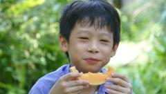 boy enjoy eating melon in park - stock footage