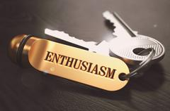 Enthusiasm Concept. Keys with Golden Keyring Stock Illustration