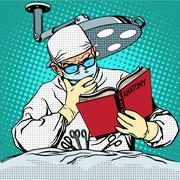 The surgeon before surgery is reading anatomy. Medicine and heal - stock illustration