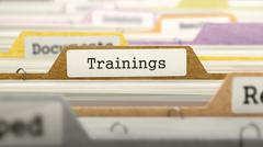 Trainings Concept. Folders in Catalog - stock illustration