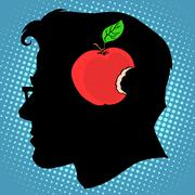 Bitten Apple in mind a business concept knowledge - stock illustration