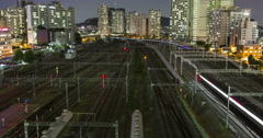 Seoul, Korea Sept 15 Timelapse of rail transpotation in yongsan, korea Stock Footage