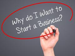 Man Hand writing Why do I Want to Start a Business? with marker Stock Photos