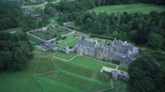 Aerial flight over Abbotsford House, Scottish Borders Stock Footage