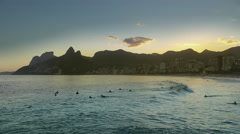 Stock Video Footage of Surfers at Ipanema Beach