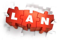 LAN - Text on Red Puzzles - stock illustration