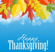 Happy Thanksgiving Day Background with Shiny Autumn Natural Leav - stock illustration