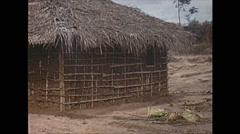 Vintage 16mm film, 1970, Ceylon, thatch homes, rural Stock Footage