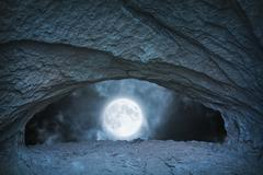 full moon at night time view from blue cave - stock photo