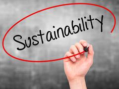 Stock Photo of Man Hand writing Sustainability with black marker on visual screen.