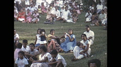 Vintage 16mm film, 1970, Ceylon, people gathered on hill Stock Footage