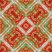 Background from tomatoes. Effect of a kaleidoscope. - stock photo