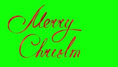 """Writing Red Ribbon Text """"Merry Christmas"""" Over Green Background. 4k. Ultra HD. - stock footage"""