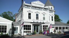 A quaint New England village store front. Stock Footage