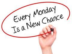 Man Hand writing Every Monday Is a New Chance with =marker on visual screen. - stock photo