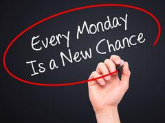 Man Hand writing Every Monday Is a New Chance with marker on visual screen. Stock Photos