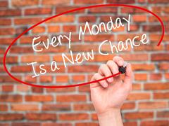 Man Hand writing Every Monday Is a New Chance with =marker on visual screen. Stock Photos