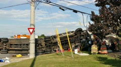 Firefighters resting on the scene of a Truck crash Stock Footage