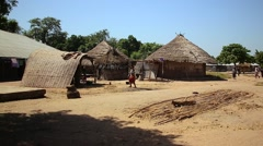 Africa village with people Stock Footage