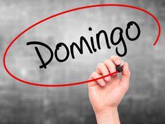 Hand writing Domingo (Sunday in Spanish/Portuguese) with marker - stock illustration