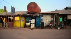 Africa gas station city BAFATA Stock Footage