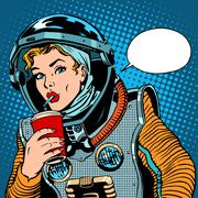 Female astronaut drinking soda - stock illustration