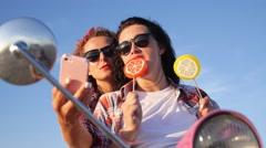 Summer Girls Taking Selfie Portrait Outdoors - stock footage