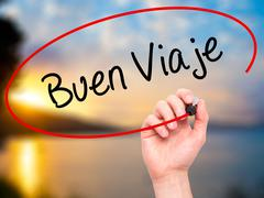Man Hand writing Buen Viaje (Good Trip in Spanish) with marker on visual screen. - stock illustration
