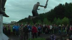Sportsmen jumps in water. Steel Character. Tyumen Stock Footage