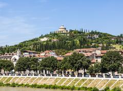 Sanctuary of the Madonna of Lourde, Verona, Italy on a hill - stock photo