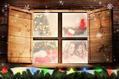 Composite image of cheerful mother and daughter with christmas gift against - stock illustration
