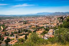 Spain, Andalusia Region, Granada town panorama from Alhambra viewpoint Stock Photos