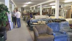 Used Furniture Thrift Store Pan Stock Footage