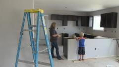 Single Mom and Child at New House - stock footage