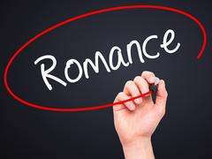 Man Hand writing Romance with black marker on visual screen - stock illustration