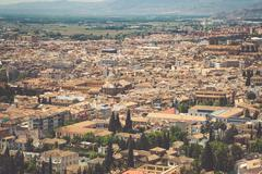 Stock Photo of Spain, Andalusia Region, Granada town panorama from Alhambra viewpoint
