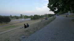 Sitting and admiring the 1 Armoured Division Square, Warsaw - stock footage