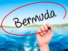 Man Hand writing Bermuda with black marker on visual screen - stock illustration
