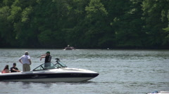 Boating in a quaint New England town Stock Footage