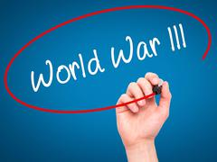 Man Hand writing World War lll with black marker on visual screen. - stock illustration
