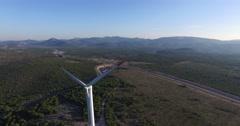 Aerial view of wind power generators Stock Footage
