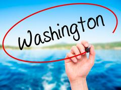 Man Hand writing Washington with black marker on visual screen. Stock Illustration
