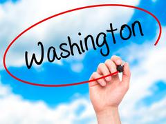 Man Hand writing Washington with black marker on visual screen. - stock illustration