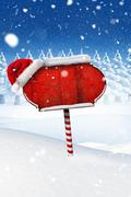 Stock Illustration of Santa sign in north pole