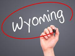 Man Hand writing Wyoming with black marker on visual screen Stock Illustration